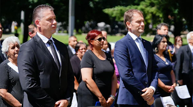 Igor Matovič, the Prime Minister of Slovakia, on 2 August 2020 during a commemorative ceremony in Bánská Bystrica. (PHOTO:  Facebook page of the OľANO movement)