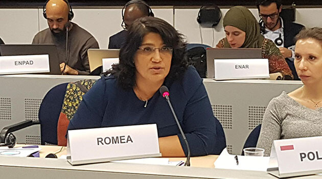 Monika Mihaličková speaking on 5 December 2017 at the fourth session of the EU High Level Group on combating racism, xenophobia and other forms of intolerance (PHOTO:  Gabriela Hrabaňová).