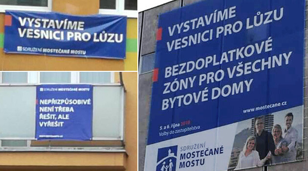 Some of the hateful campaign slogans in the Czech local elections in Most, October 2018 -