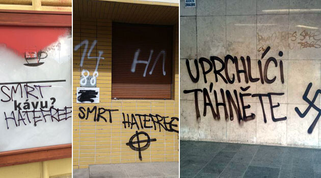 In the Czech Republic during the late night hours of 23 April and the early morning hours of 24 April 2016, neo-Nazis attacked several businesses involved with the HateFree Zone network. (Collage:  Romea.cz)