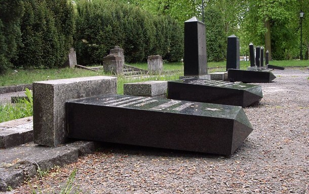 Antisemitic vandalism is common in Europe - these tombstones in the Jewish cemetery in Łódź, Poland, were knocked down in 2012. (PHOTO: blip.pl)