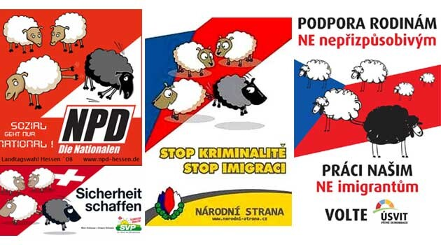 The openly racist and xenophobic posters used by neo-Nazi extremist parties in Europe:  The German NPD, the Swiss SVO, the now-defunct Czech National Party, and the new Dawn of Direct Democracy (Úsvit) movement in the Czech Republic. (Collage:  Romea.cz)