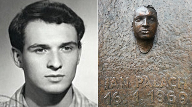 Jan Palach was the Charles University student who set himself on fire on 16 January 1969 to protest the end of the Prague Spring after the August 1968 invasion of Czechoslovakia by Warsaw Pact troops. A copy of his death mask is now the centerpiece of the Jan Palach memorial on Charles University's Faculty of Arts building on Jan Palach Square in Prague.  (Collage:  Romea.cz)