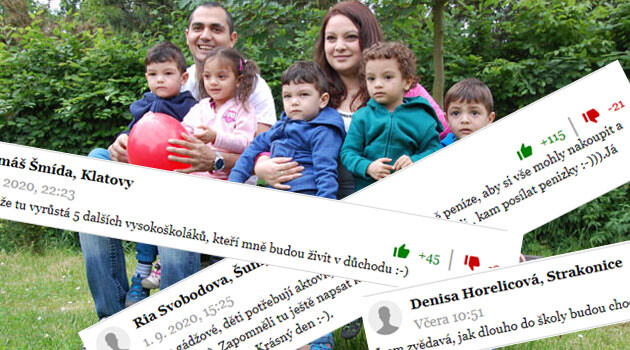 Czech racists comment online about the Romani quintuplets' first day of school (3 September 2020). (Collage:  Romea.cz)
