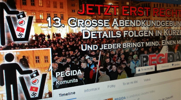 The website of the Pegida organization in Germany.