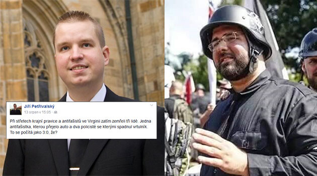 The chair of the Prague regional organization of the DSSS, Jiří Petřivalský (left) and the co-founder of the American neo-Nazi Traditionalist Workers Party, the neo-Nazi Matthew Heimbach (Collage:  Romea.cz).
