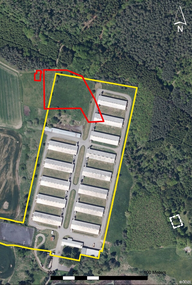 The area of the former Protectorate-era Zigeunerlager at Lety u Písku is outlined in red compared to the current grounds of the now-defunct industrial pig farm (outlined in yellow). (PHOTO:  Museum of Romani Culture, Czech Republic)