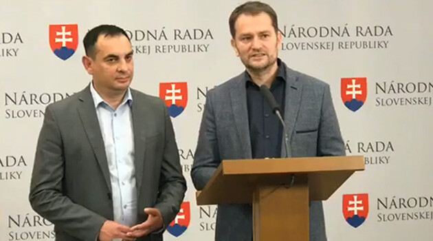 Peter Pollák (left) and Igor Matovič (right) at a press conference on 20 May 2019 announcing that Matovič was withdrawing his EP candidacy.  (PHOTO: Facebook page of the OĽaNO movement, Slovakia)