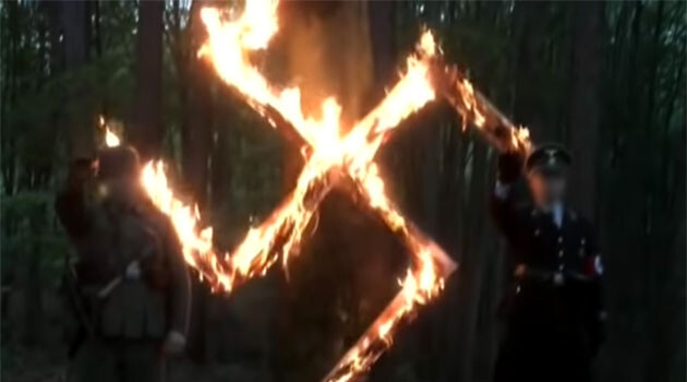 The Nazi swastika that was set on fire as part of a celebration of Adolf Hitler's birthday in May 2017 organized by the