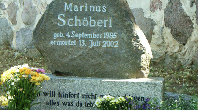 Marinus Schöberl was murdered on 13 July 2002 by German neo-Nazis in the village of Potzlow. (Source:   de.wikipedia.org)
