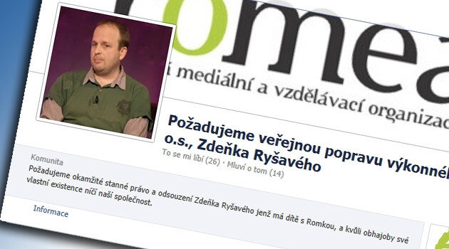 A screen shot of the Facebook page demanding the public execution of ROMEA's director, Zdeněk Ryšavý, in 2014.