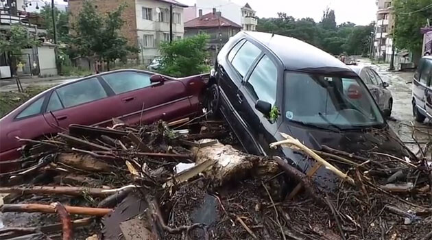 In June 2014, due to the severe rains, flood waters and mud hit the town of Varna, Bulgaria. Varna's district Asparuhovo was the hardest hit and the heavy rainfall flooded the streets, destroyed homes, and upturned cars. (PHOTO: YouTube.com)