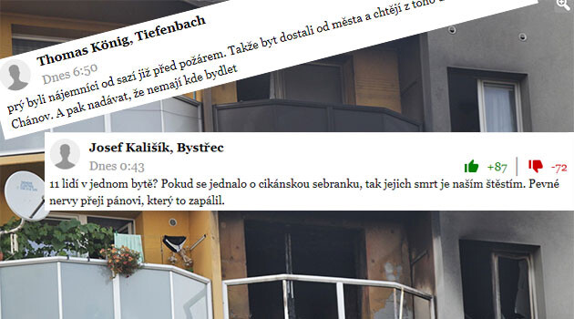 Racist commentaries were posted beneath a news item on mainstream news server Novinky.cz on 8 August 2020 about a tragic incident in  Bohumín, Czech Republic, where 11 people, three of them children, died as the result of arson committed on the 11th floor of an apartment building. (Collage:  Romea.cz)