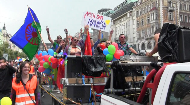 A photo of the Romani LGBT float during the Prague Pride parade in 2014. (PHOTO:   František Kostlán)