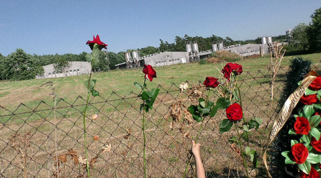 The pig farm on the grounds of the former WWII-era concentration camp for Romani people at Lety u Písku. The roses were put on the fence on 24 June 2017 by advocates of removing the farm. (PHOTO:   František Bikár, Romea.cz)