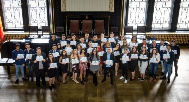 The ceremonial induction of Romani students into the scholarship program run by the ROMEA organization in the Czech Republic for the 2018/19 academic year. (PHOTO:   Petr Zewlakk Vrabec)
