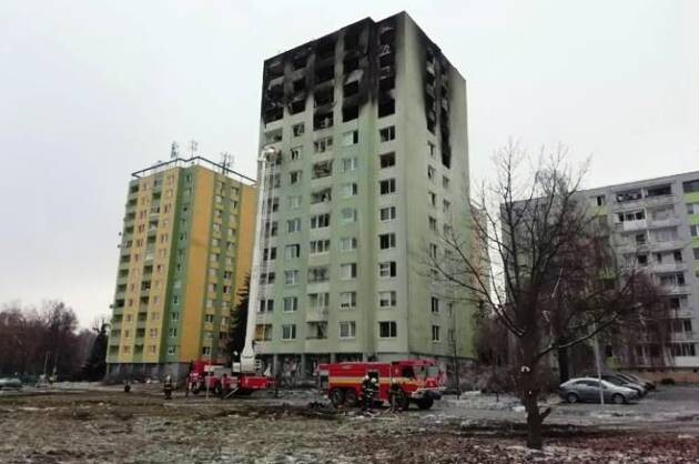 A prefabricated apartment building in Prešov where a gas explosion happened in December 2019. (PHOTO:  Police of the Slovak Republic)