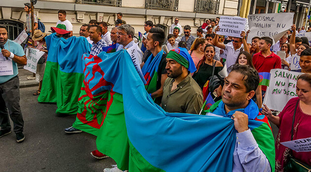 As many as 900 people assembled in Bucharest, Romania in front of the Italian and Ukrainian Embassies on Saturday 28 July 2018 to express their disagreement with many violent crimes against Romani people and to protest antigypsyism in Europe. (PHOTO:  Ciprian Necula)
