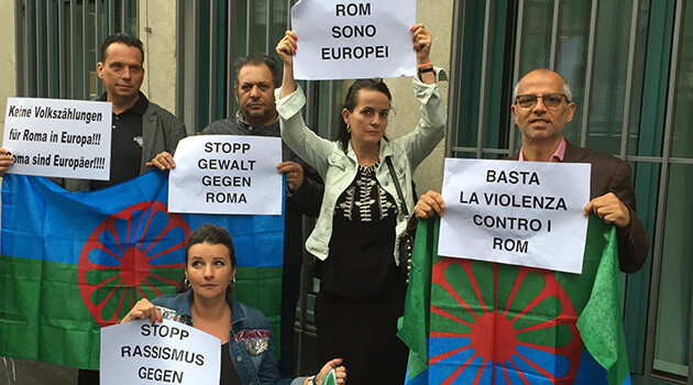 Representatives of Swiss Romani associations held a peaceful protest on 6 July 2018 in front of the Italian consulate in Zurich against Italy's discriminatory, racist measures against Romani and Sinti people living in encampments. (PHOTO:  Facebook.com)