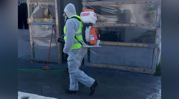Disinfection of Romani settlements in Greece to prevent the spread of COVID-19. (2020) (PHOTO:  Roma Civil Monitor)