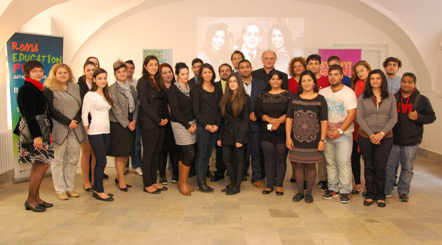 Some of the successful Romani college scholarship recipients during a celebratory meeting in Prague. (Photo:  Jana Baudyšová)