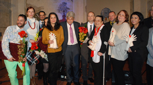The gala ceremony for these recipients of the 2015 Roma Spirit awards took place on 10 December 2015 in Prague. The awards are meant to present the public with successful projects focused on Romani integration. (PHOTO:  Jan Čonka, Romea.cz)