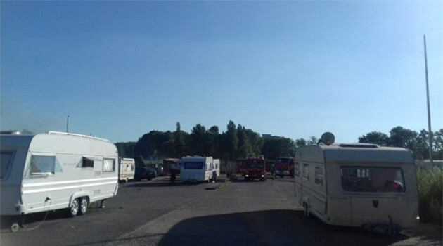 The caravans of Belgian Romani Travellers parked on Rue Dante in Brussels, Belgium, prior to their being forced away from the privately-owned site by local authorities of Anderlecht Municipality in June 2018. (PHOTO:  ERGO network)