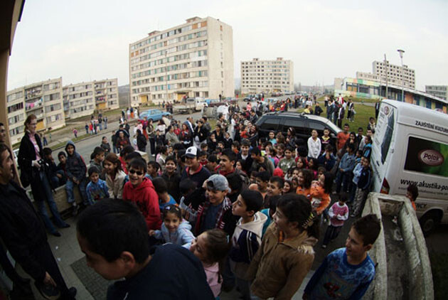 Romani residents of the Chanov housing estate in the Czech Republic during the