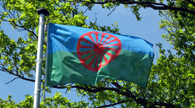 The international Romani flag. (PHOTO:  Embassy of the United States of America to the Czech Republic)