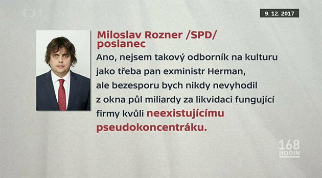 Czech MP Miloslav Rozner (SPD) in 2018: