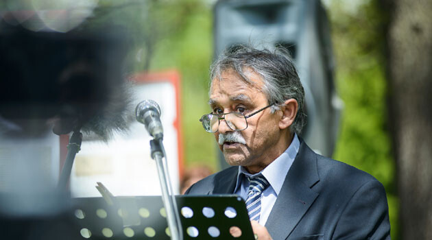 Čeněk Růžička, chair of the Committee for the Redress of the Roma Holocaust, speaking on 13 May 2017 at Lety u Písku (PHOTO: Petr Zewlakk Vrabec)