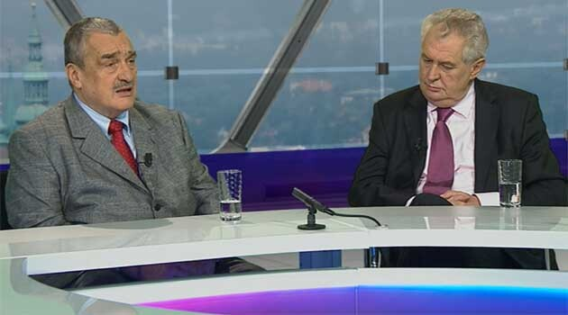 Presidential candidates Karel Schwarzenberg and Miloš Zeman appearing on the Czech Television program