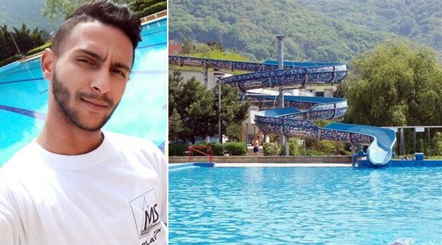 Robert Šenki, a lifeguard from the Romani community who works at the Brná Thermal Pool in Ústí nad Labem, Czech Republic. (2019). (Collage:  Romea.cz)