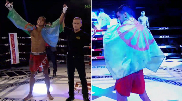 Romani kickboxer Václav Sivák of the Czech Republic won on 9 February in a Muay-Thai match against Lukáš Mandinec. He celebrated the victory with a Romani flag around his shoulders. (PHOTO:  XFN live)