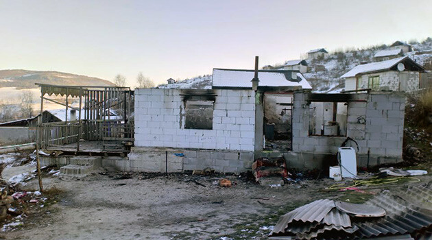 The remains of the home in which a mother and her four young children died after it caught fire on 30 November 2018. (PHOTO:  Police of the Slovak Republic)