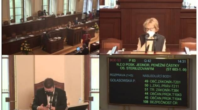On 10 March 2021 the first reading of the bill to compensate those who have been sterilized without their free and informed consent on Czech territory passed the draft legislation forward into committee.
