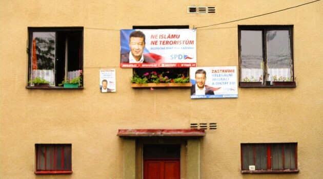 Decorations of the residence of the Mikšovský family prior to the 2017 elections in the Czech Republic - the posters for the