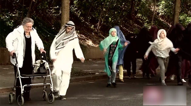 A 2017 campaign ad on television by the Bloc against Islamicization featured shots of people in stereotypically Arab or Muslim clothing running past and overtaking elderly Europeans, implying such immigrants will take precedence over senior citizens when it comes to state spending. Czech Television filed a crime report against the ad and a motion to the Council of Radio and Television Advertising over it. (PHOTO:  Still from advertisement on Czech Television)