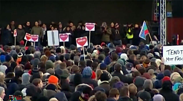 Thousands of Swedes took to the streets on 22 December 2013 to protest against racism, but the ultra-right scored gains there in 2014. (PHOTO:  YouTube.com)