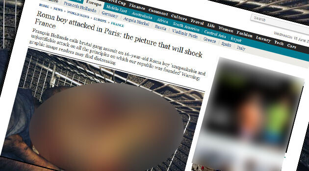 Photos of the 16-year-old Romani boy who was brutally lynched by a mob in a Paris suburb on 13 June 2014, were published by The Daily Telegraph in the UK.