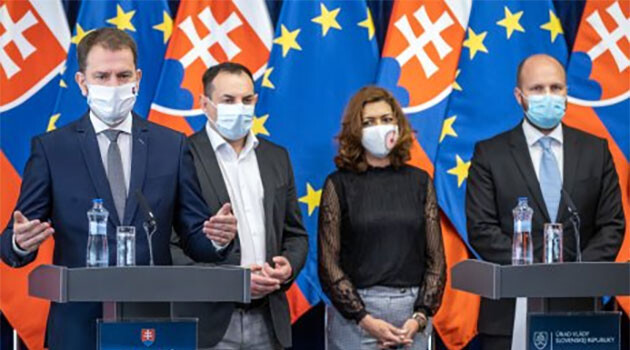 Press conference on coping with COVID-19 in excluded localities inhabited by Romani people in Slovakia (April 2020).