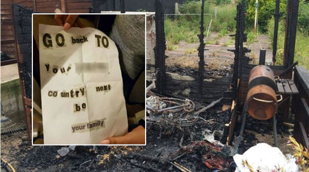 Unidentified perpetrators set a shed on fire on 7 July 2016 near a house occupied by a Polish family in the town of Plymouth in southwestern England. (PHOTO:  BBC, collage by Romea.cz).
