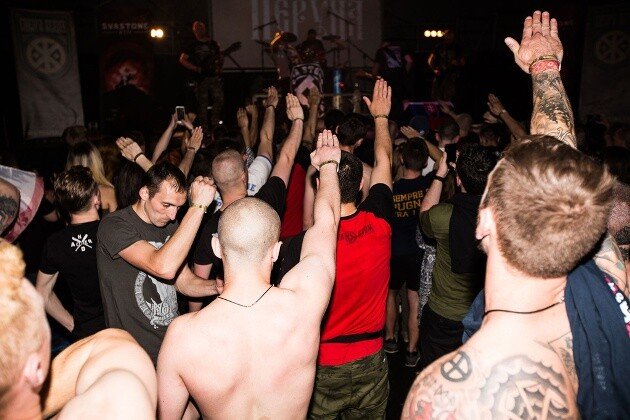 A moment from last year's anniversary concert for the band Sokira Peruna (Axe of Perun) in Kyiv, Ukraine, where the Slovak band Krátký proces (Short Trial) also performed. (PHOTO:  Antifa.cz)