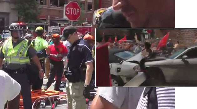 CNN reported that a neo-Nazi demonstrator drove a car into a crowd of anti-racist protesters in the USA on 12 August 2017, crashing into another vehicle, killing one person and injuring 19; the number of persons injured was later revised upward by investigators to 29. (Collage: Romea.cz)