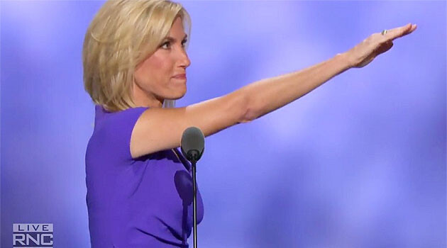 The gesture made by radio host Laura Ingraham, one of the speakers at the Republican Party convention in the USA, in July 2016. Is this a Nazi salute? (PHOTO:  YouTube.com)