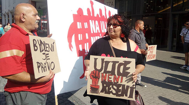 A demonstration against the fact that impoverished Romani evictees from two closing residential hotels in the Czech town of Ústí nad Labem have nowhere acceptable to go was held on 14 June 2018. The signs read