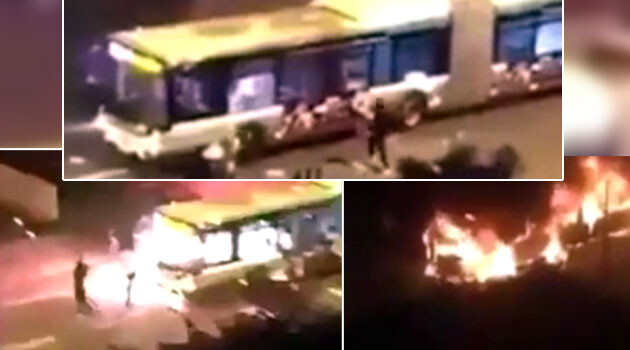 This is what it looks like when calls to burn people alive on buses are put into practice. A street gang attacked a bus in the Paris suburb of Saint-Denis with Molotov cocktails on 28 July 2016. (PHOTO:  YouTube.com)