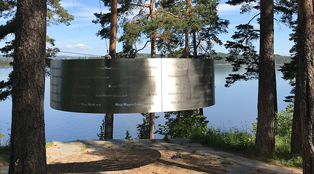 The memorial to the 69 victims of the youth camp that was targeted by the neo-Nazi Anders Breivik for a terrorist attack in 2011 on Utoya Island in Norway. (PHOTO: Jana Horváthová, Museum of Romani Culture, Czech Republic)