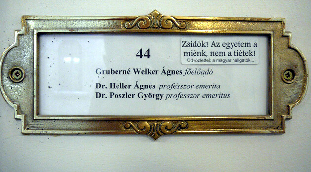 In 2013 this notice was found glued to the nameplates of university professors at Eötvös Loránd University in Budapest:
