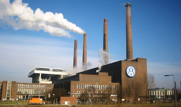 A Volswagen factory in Wolfsburg, Germany, with the firm's power plant in the foreground (PHOTO:  Wikipedia)